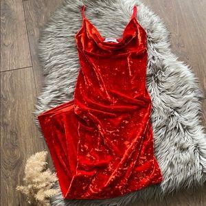 Urban Outfitters Red-Orange Velvet Dress